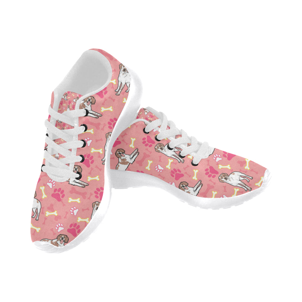 Brittany Spaniel Pattern White Sneakers for Men - TeeAmazing