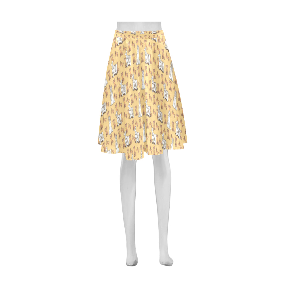 Afghan Hound Pattern Athena Women's Short Skirt (Model D15) - TeeAmazing