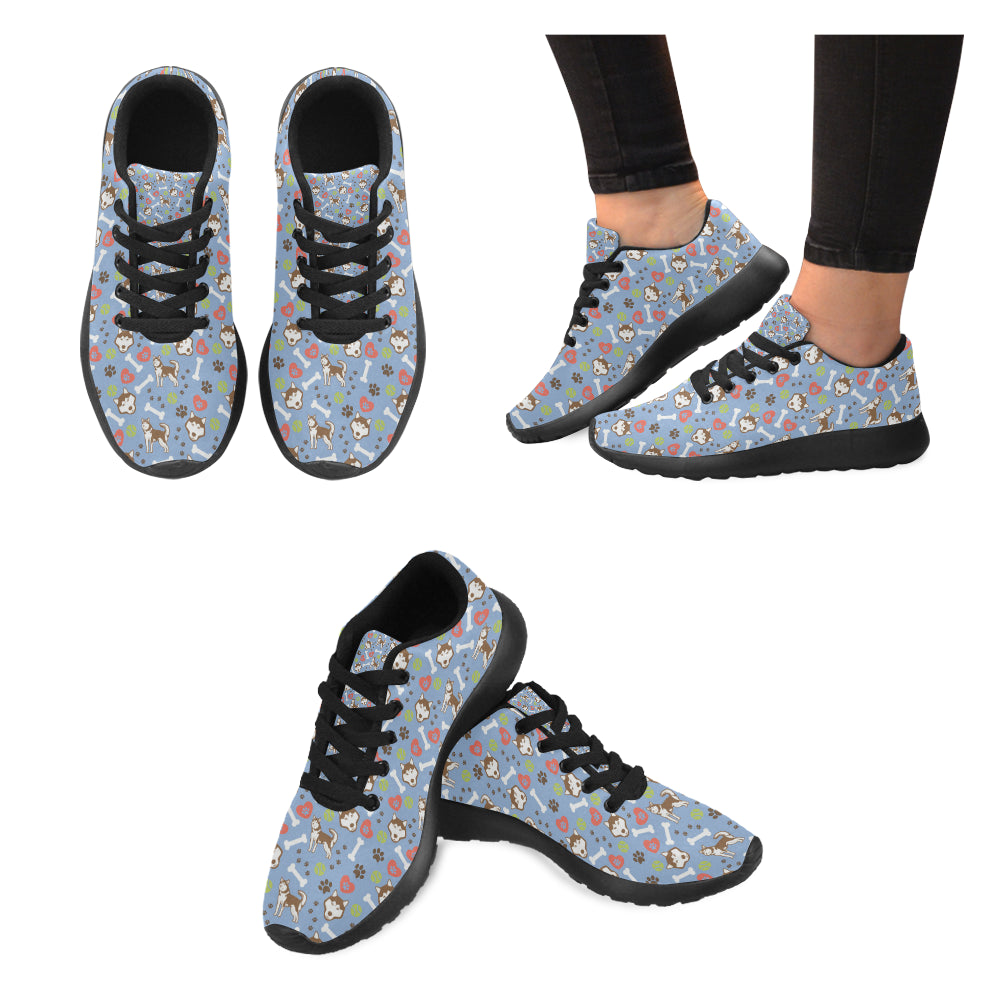 Alaskan Malamute Pattern Black Sneakers for Women - TeeAmazing