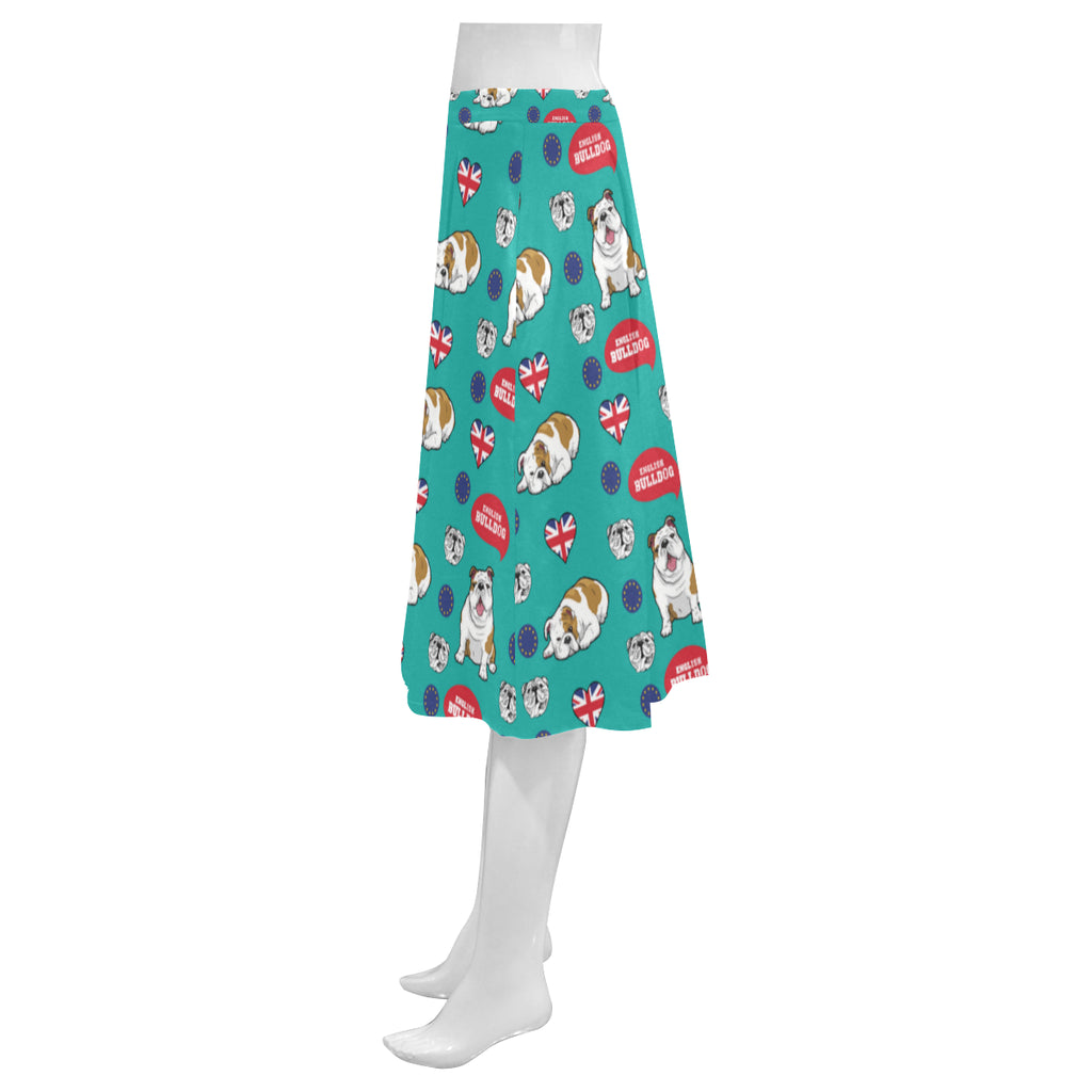 English Bulldog Mnemosyne Women's Crepe Skirt - TeeAmazing