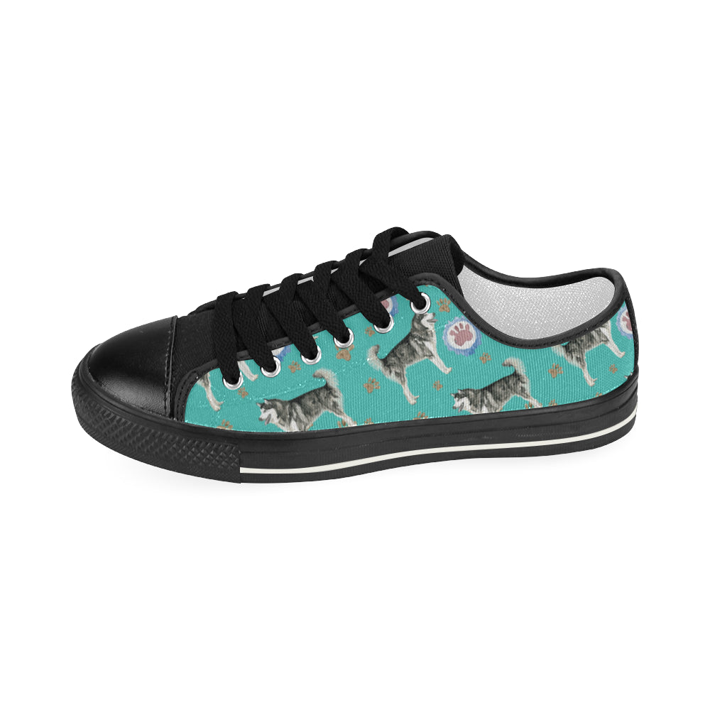 Alaskan Malamute Water Colour Pattern No.1 Black Women's Classic Canvas Shoes - TeeAmazing