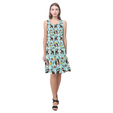 Bernese Mountain Pattern Sleeveless Splicing Shift Dress - TeeAmazing