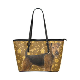 Welsh Terrier Dog Leather Tote Bag/Small - TeeAmazing