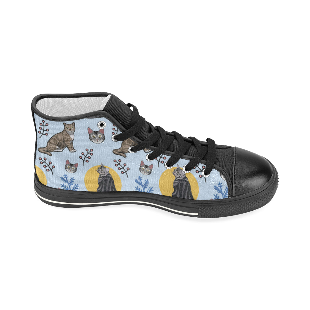 American Shorthair Black Women's Classic High Top Canvas Shoes - TeeAmazing