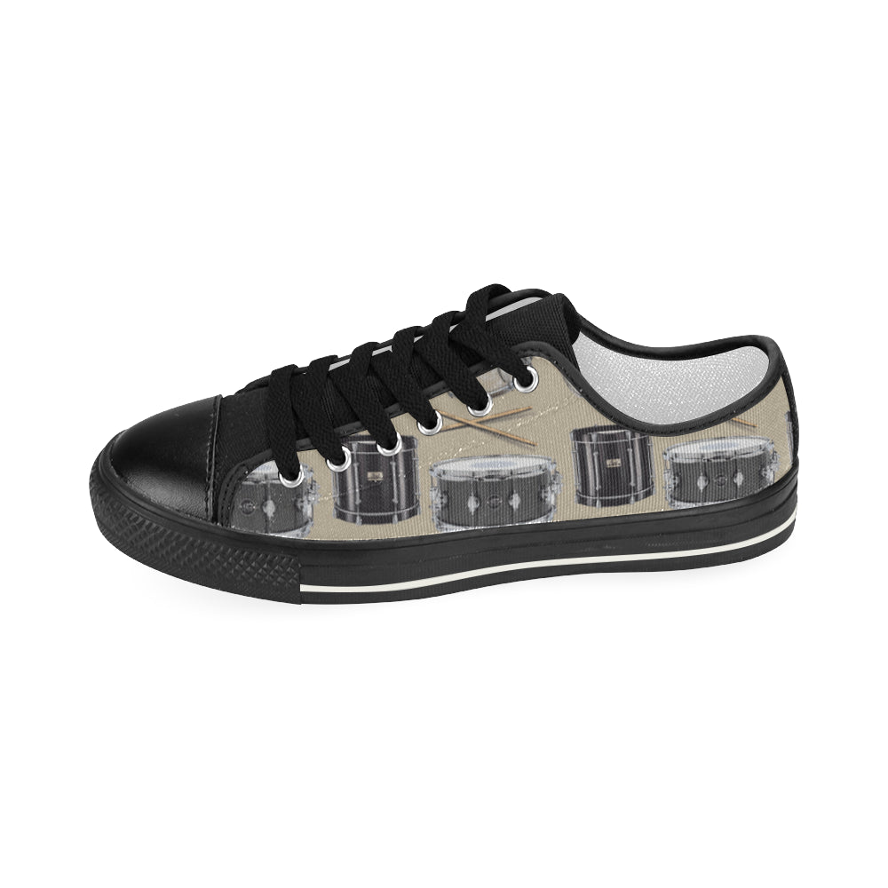 Drum Pattern Black Women's Classic Canvas Shoes - TeeAmazing
