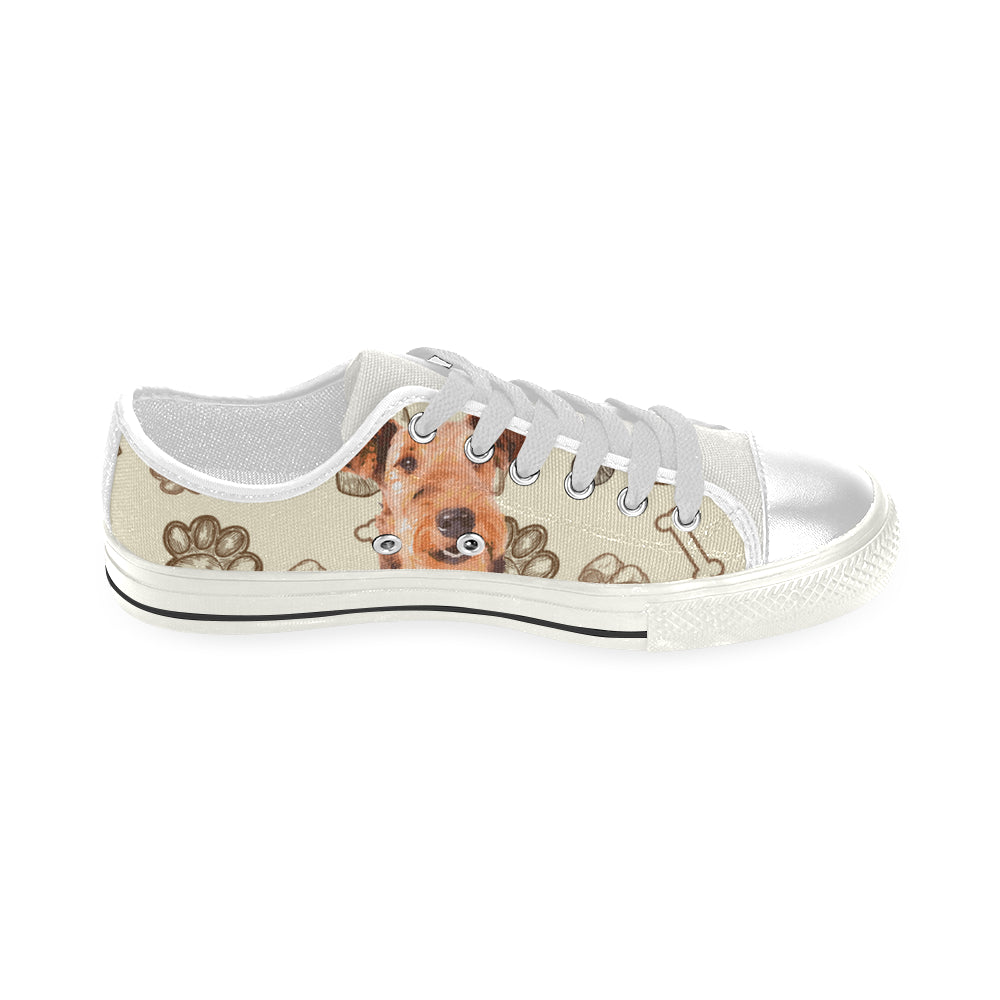 Airedale Terrier White Low Top Canvas Shoes for Kid - TeeAmazing