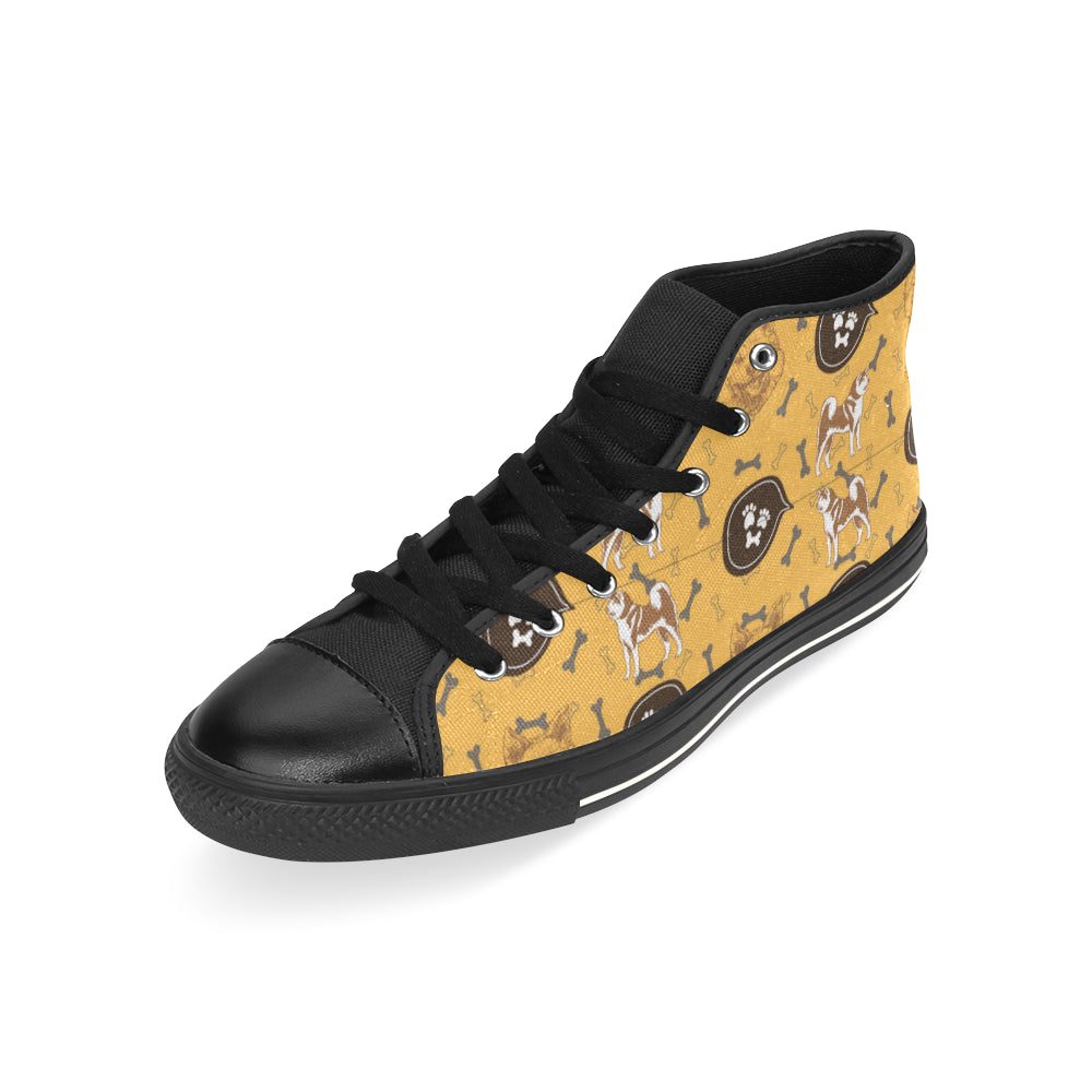 Akita Pattern Black High Top Canvas Women's Shoes/Large Size - TeeAmazing