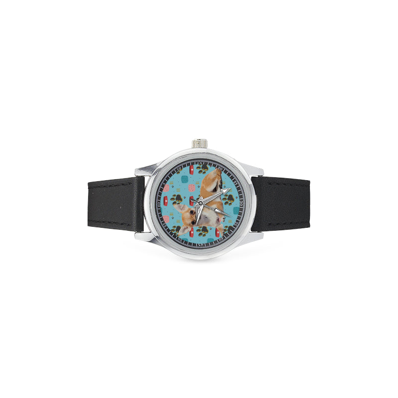 Chihuahua Kid's Stainless Steel Leather Strap Watch - TeeAmazing