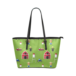 Farmer Pattern Leather Tote Bag/Small - TeeAmazing