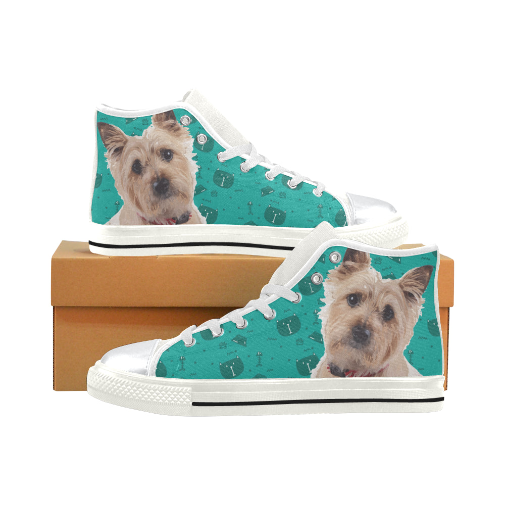 Cairn terrier White High Top Canvas Women's Shoes/Large Size - TeeAmazing