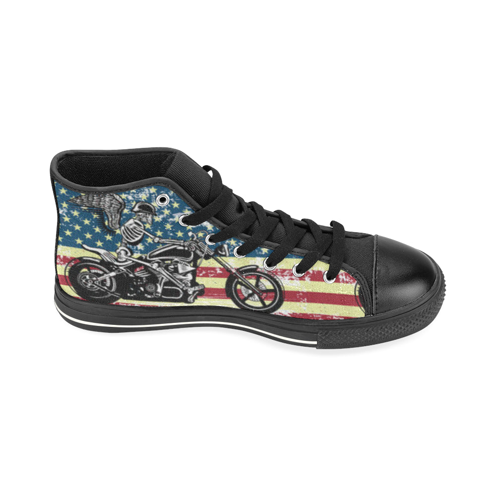 Skeleton Biker Black High Top Canvas Shoes for Kid - TeeAmazing