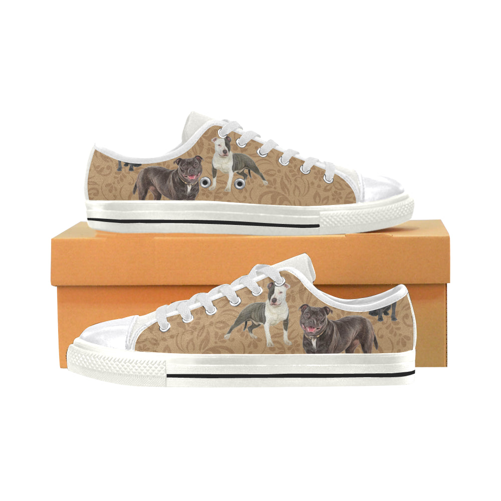 Staffordshire Bull Terrier Lover White Canvas Women's Shoes/Large Size - TeeAmazing