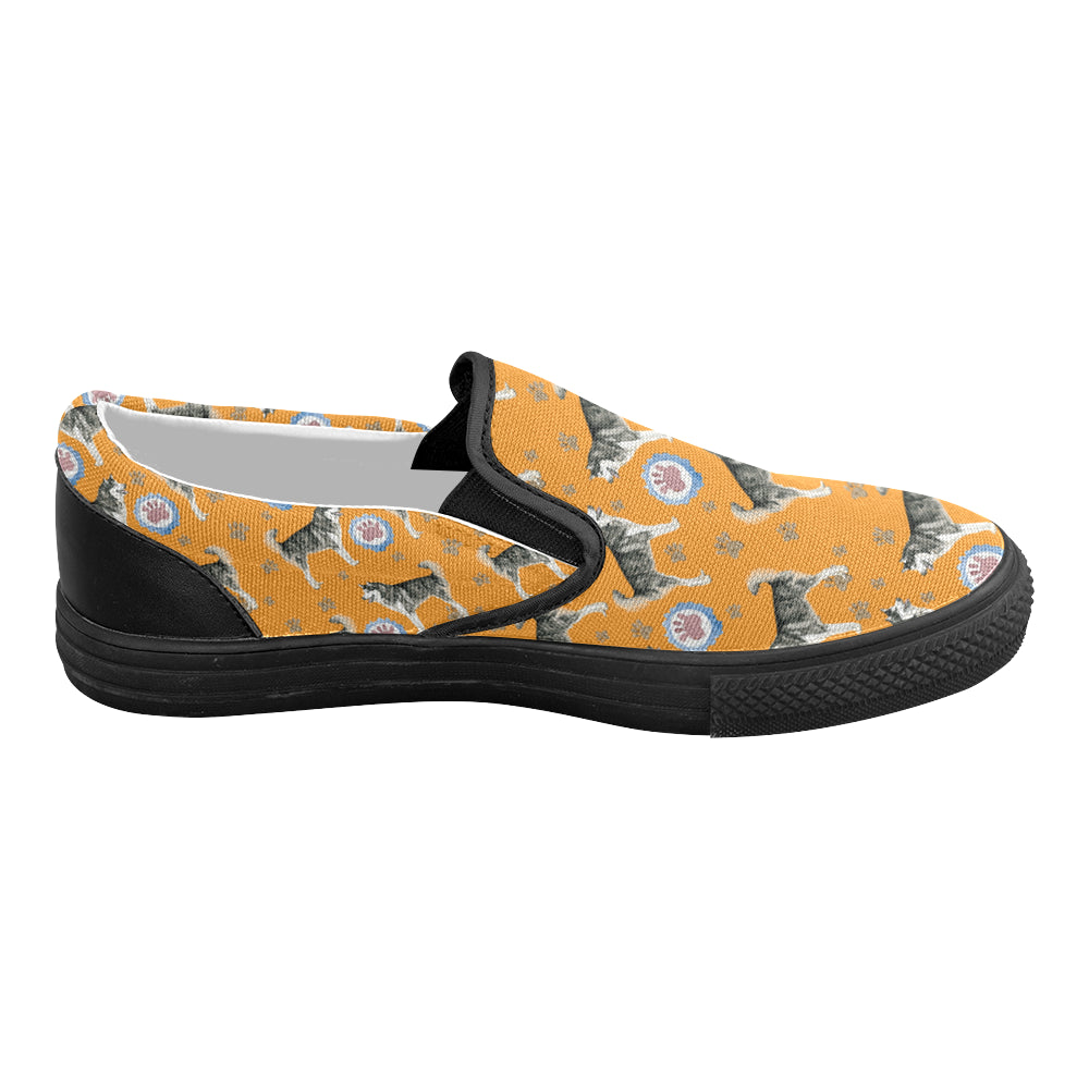 Alaskan Malamute Water Colour Pattern No.2 Black Women's Slip-on Canvas Shoes - TeeAmazing
