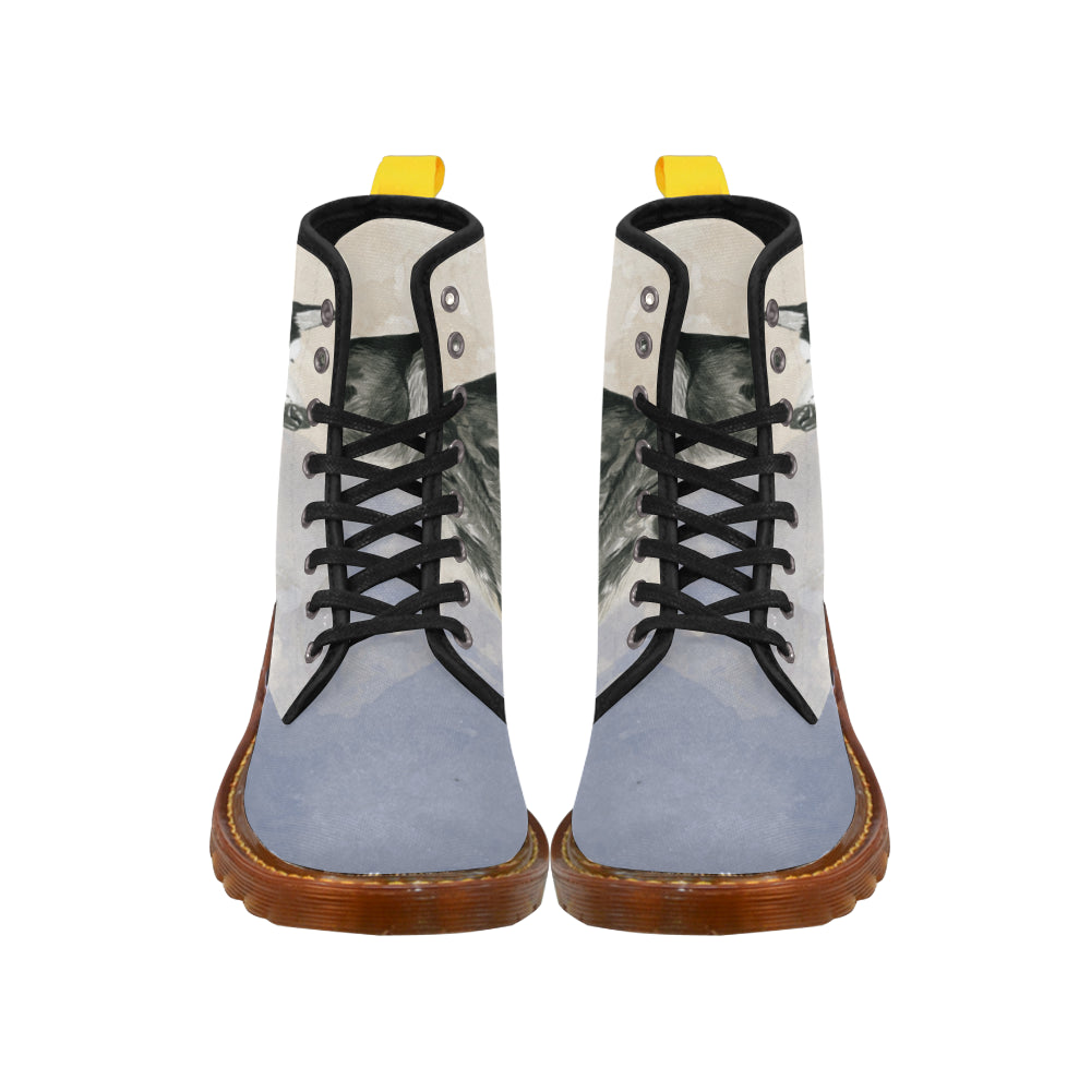 Alaskan Malamute Water Colour Black Boots For Women - TeeAmazing
