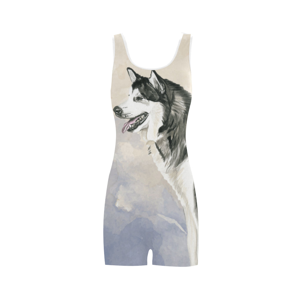Alaskan Malamute Water Colour Classic One Piece Swimwear - TeeAmazing