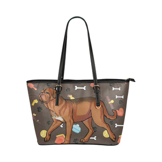 Dogues De Bordeaux Dog Leather Tote Bag/Small - TeeAmazing