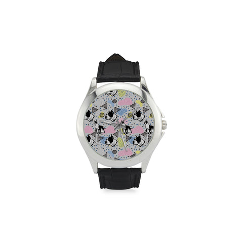 American Staffordshire Terrier Pattern Women's Classic Leather Strap Watch(Model 203) - TeeAmazing