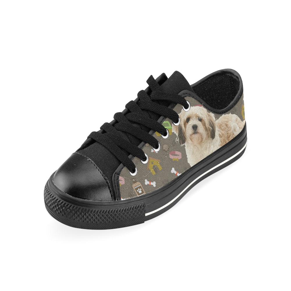 Cavachon Dog Black Low Top Canvas Shoes for Kid - TeeAmazing