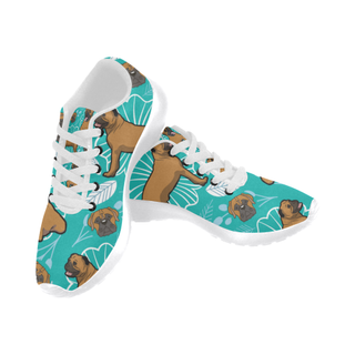Bullmastiff Flower White Sneakers for Men - TeeAmazing