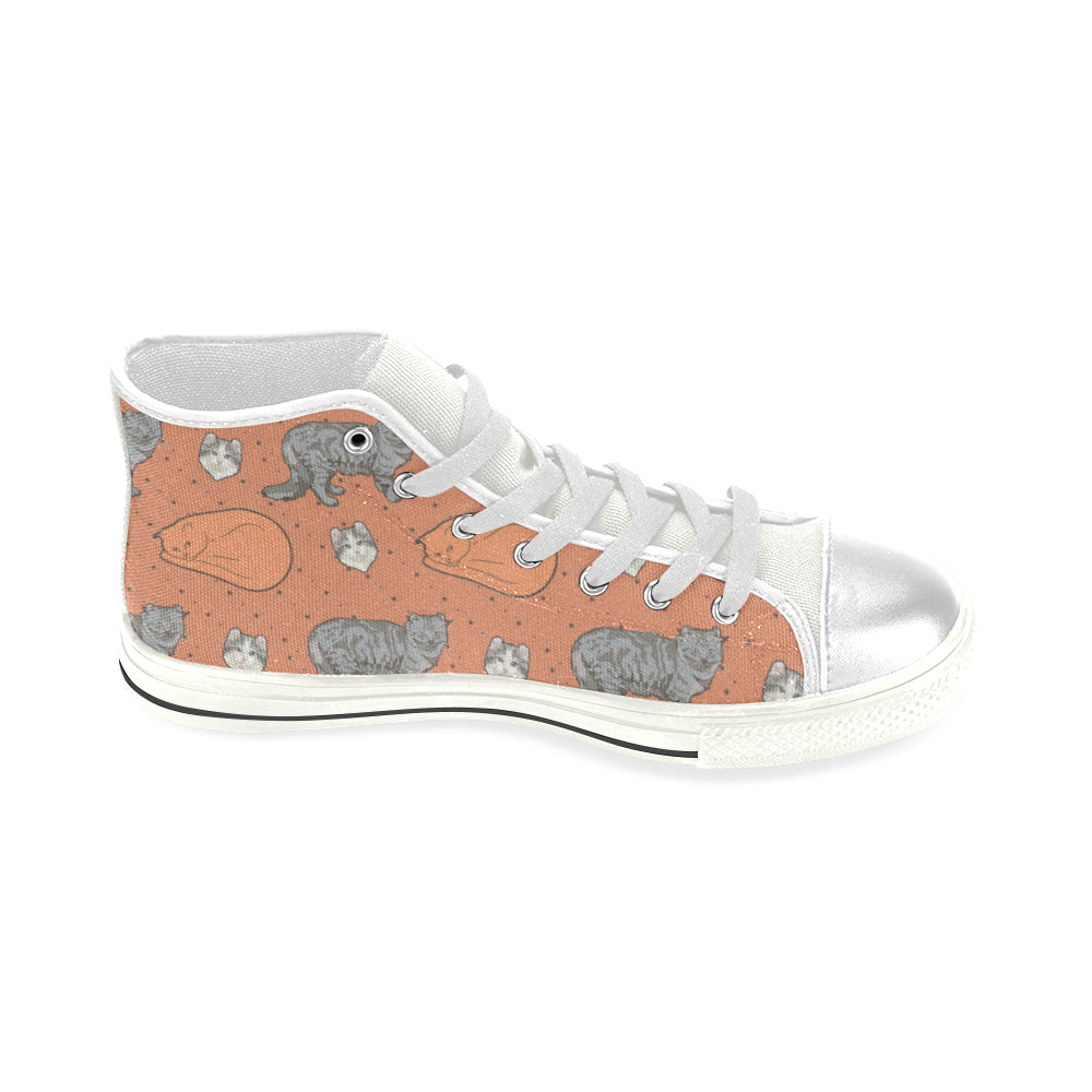 American Curl White Women's Classic High Top Canvas Shoes (Model 017) - TeeAmazing