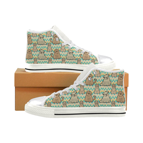 Briard White Women's Classic High Top Canvas Shoes - TeeAmazing