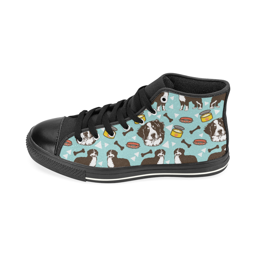 Bernese Mountain Pattern Black High Top Canvas Women's Shoes/Large Size - TeeAmazing