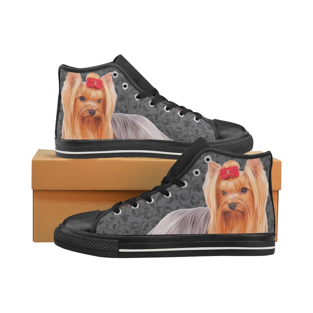 Yorkie Lover Black High Top Canvas Womens Shoeslarge Size