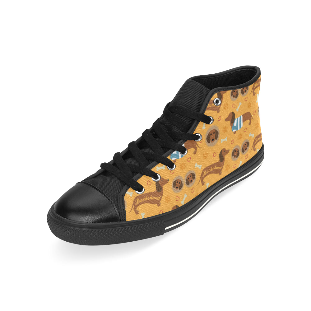 Dachshund Pattern Black High Top Canvas Women's Shoes (Large Size) - TeeAmazing