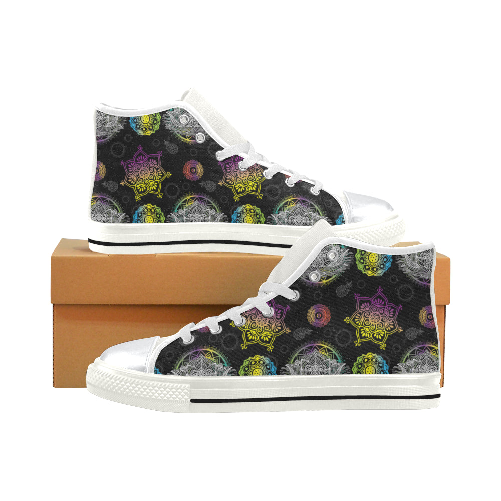 Lotus and Mandalas White High Top Canvas Women's Shoes/Large Size - TeeAmazing
