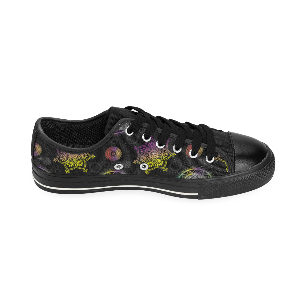 Lotus and Mandalas Black Low Top Canvas Shoes for Kid - TeeAmazing