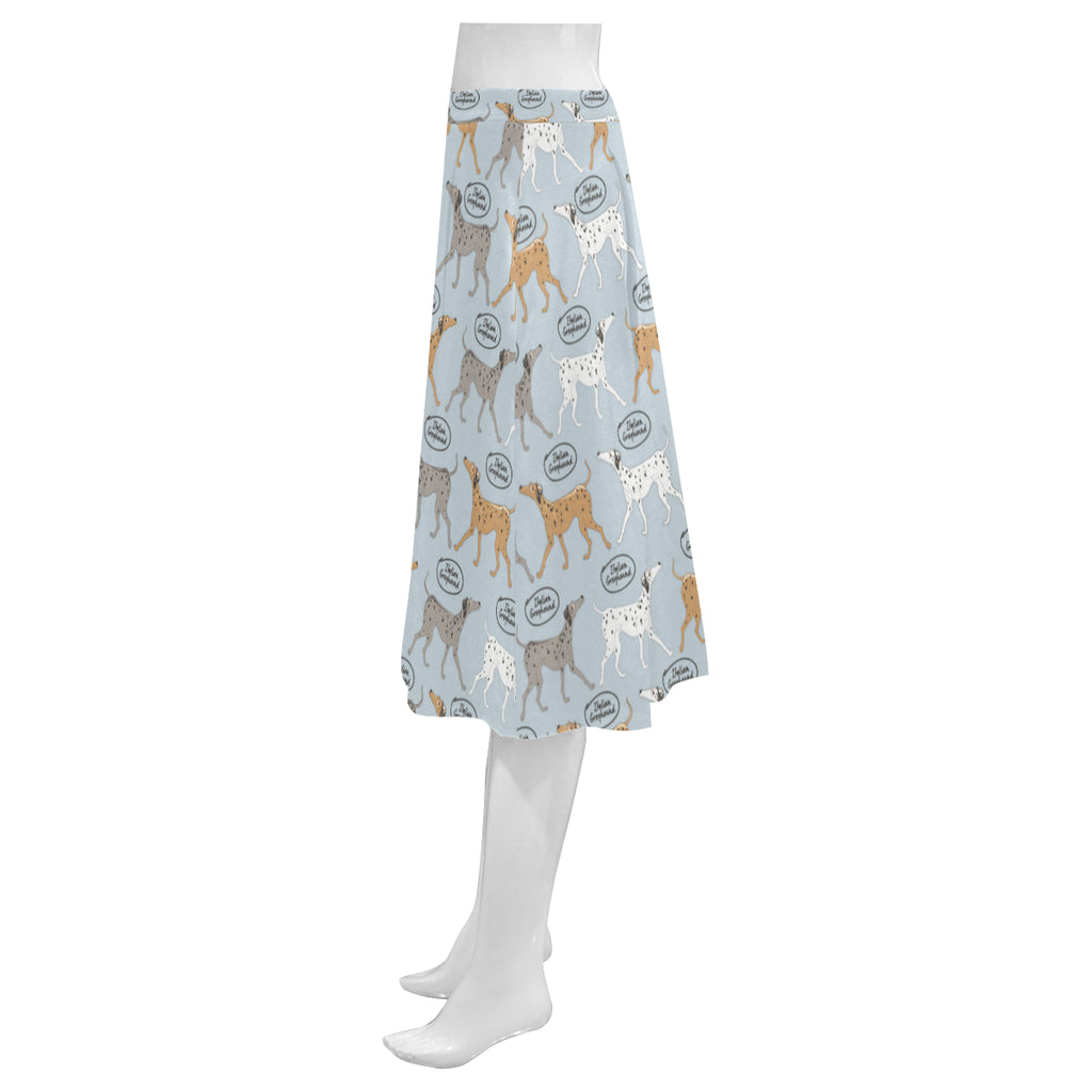 Italian Greyhound Pattern Mnemosyne Women's Crepe Skirt - TeeAmazing
