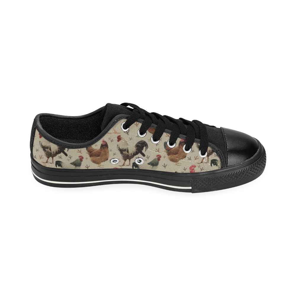 Chicken Black Low Top Canvas Shoes for Kid - TeeAmazing