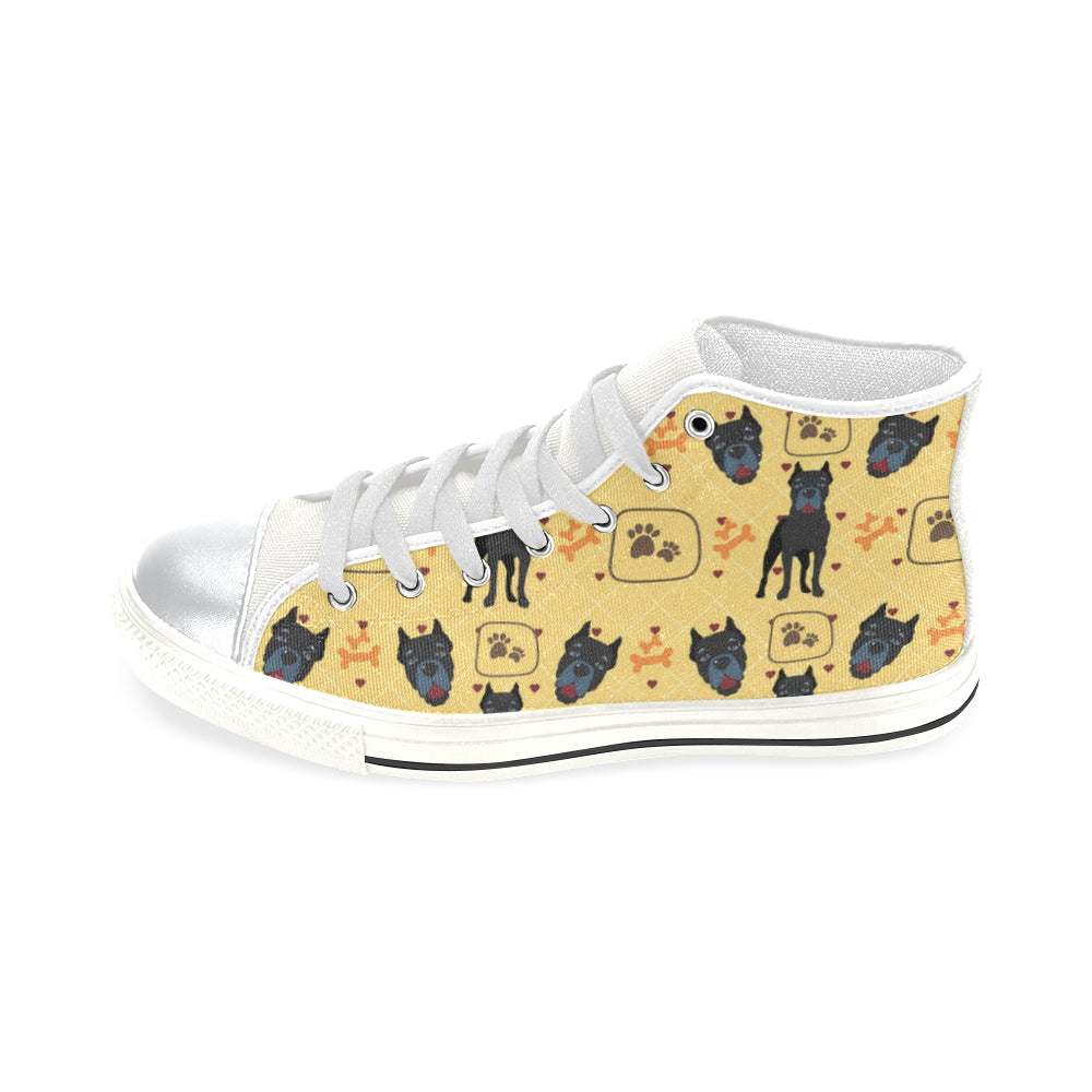 Cane Corso Pattern White High Top Canvas Shoes for Kid - TeeAmazing