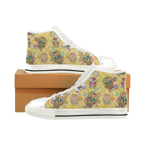 Sugar Skull White Men's Classic High Top Canvas Shoes (Model 017) - TeeAmazing