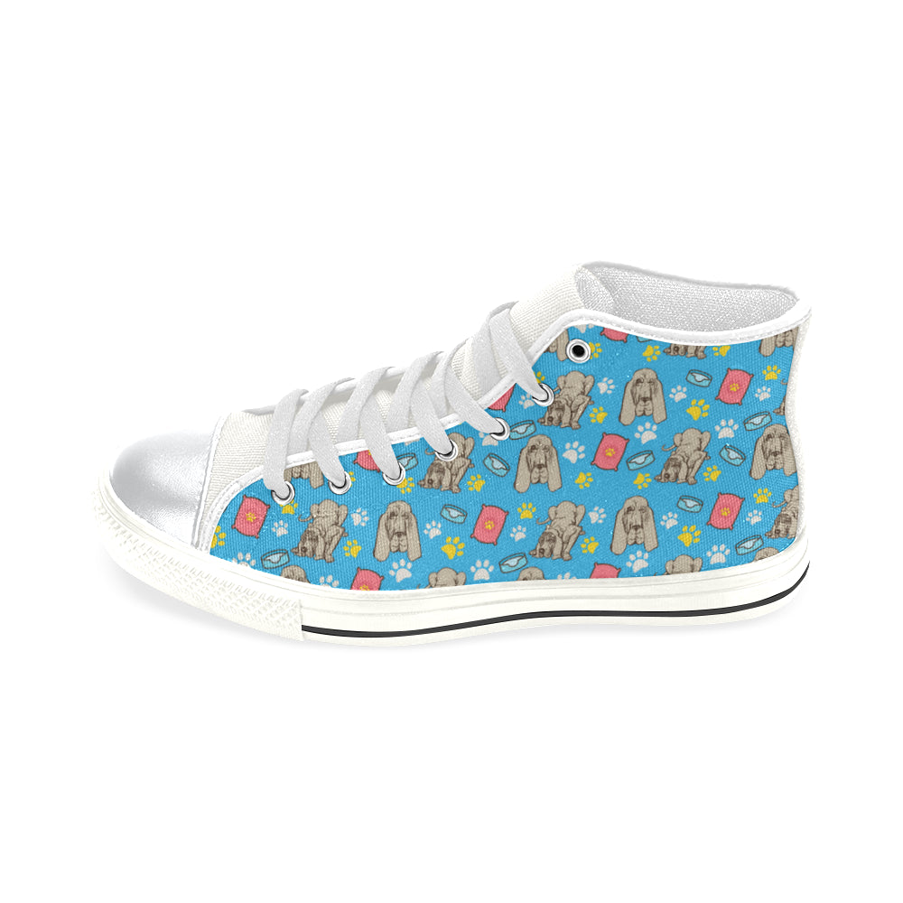 Bloodhound Pattern White High Top Canvas Women's Shoes/Large Size - TeeAmazing