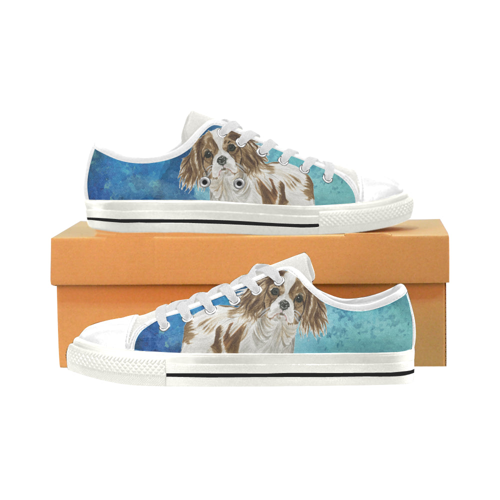 Cavalier King Charles Spaniel Water Colour No.1 White Low Top Canvas Shoes for Kid - TeeAmazing