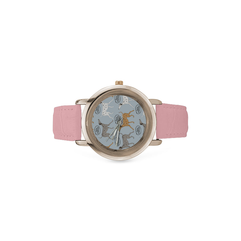 Italian Greyhound Pattern Women's Rose Gold Leather Strap Watch - TeeAmazing