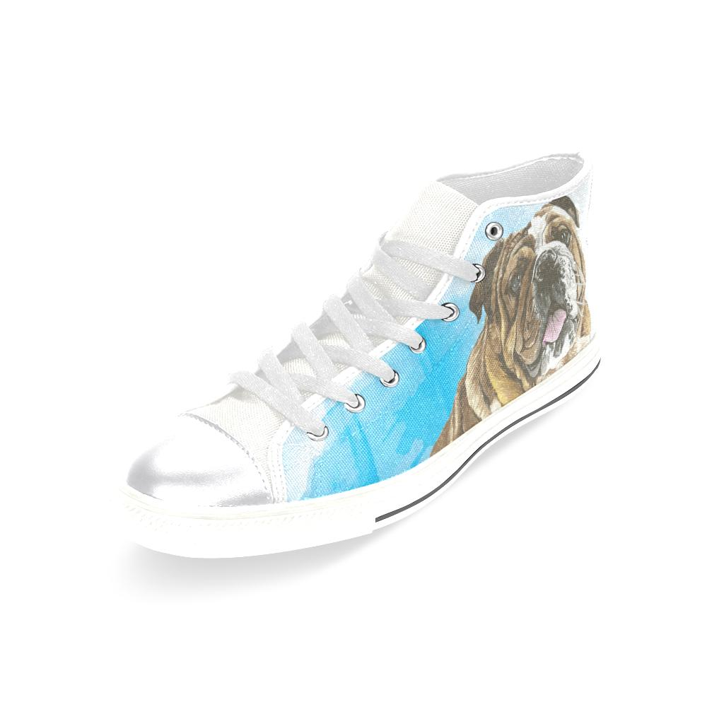 English Bulldog Water Colour No.1 White Women's Classic High Top Canvas Shoes - TeeAmazing