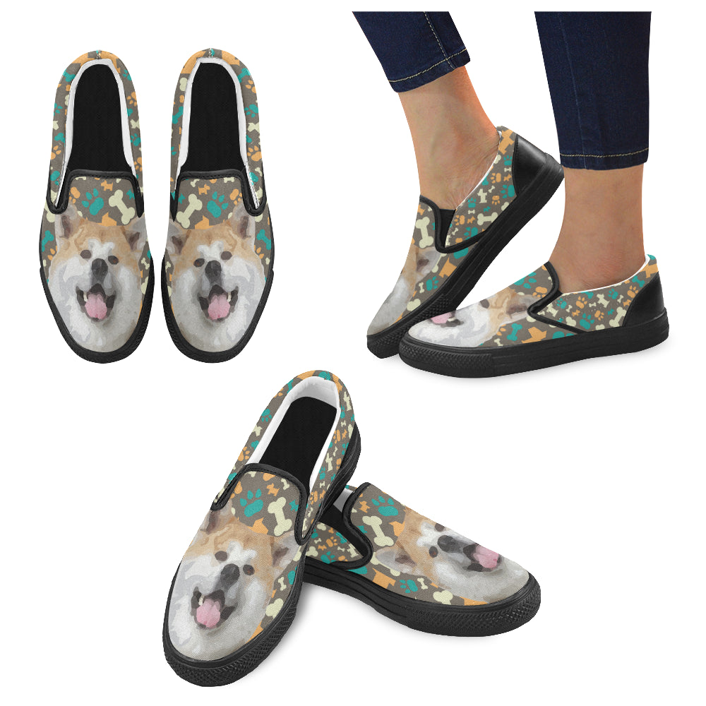 Akita Black Women's Slip-on Canvas Shoes - TeeAmazing