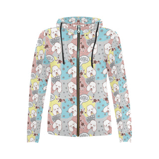 Poodle Pattern All Over Print Full Zip Hoodie for Women - TeeAmazing