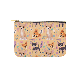 Chihuahua Flower Carry-All Pouch 9.5''x6'' - TeeAmazing