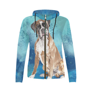Boxer Water Colour All Over Print Full Zip Hoodie for Women (Model H14) - TeeAmazing