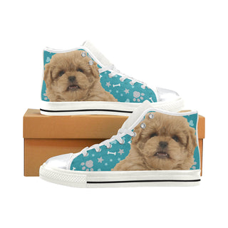 Peekapoo Dog White High Top Canvas Women's Shoes/Large Size (Model 017) - TeeAmazing