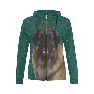 Leonburger Dog All Over Print Full Zip Hoodie for Women - TeeAmazing