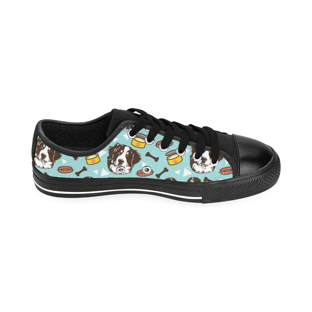 Bernese Mountain Pattern Black Men's Classic Canvas Shoes/Large Size - TeeAmazing