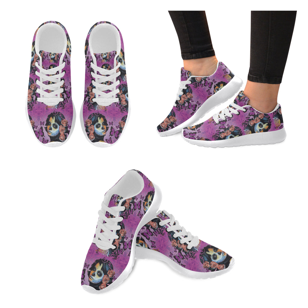 Sugar Skull Candy V1 White Sneakers for Men - TeeAmazing