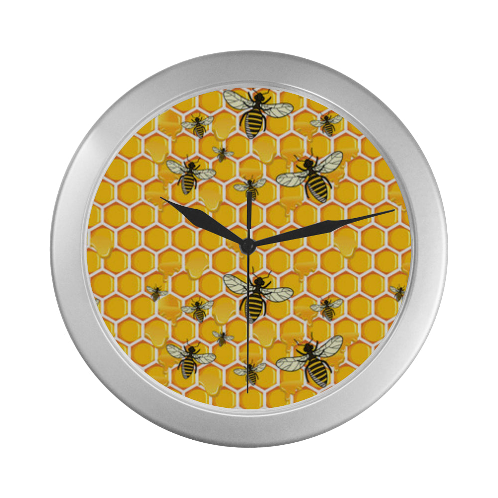 Bee Silver Color Wall Clock - TeeAmazing