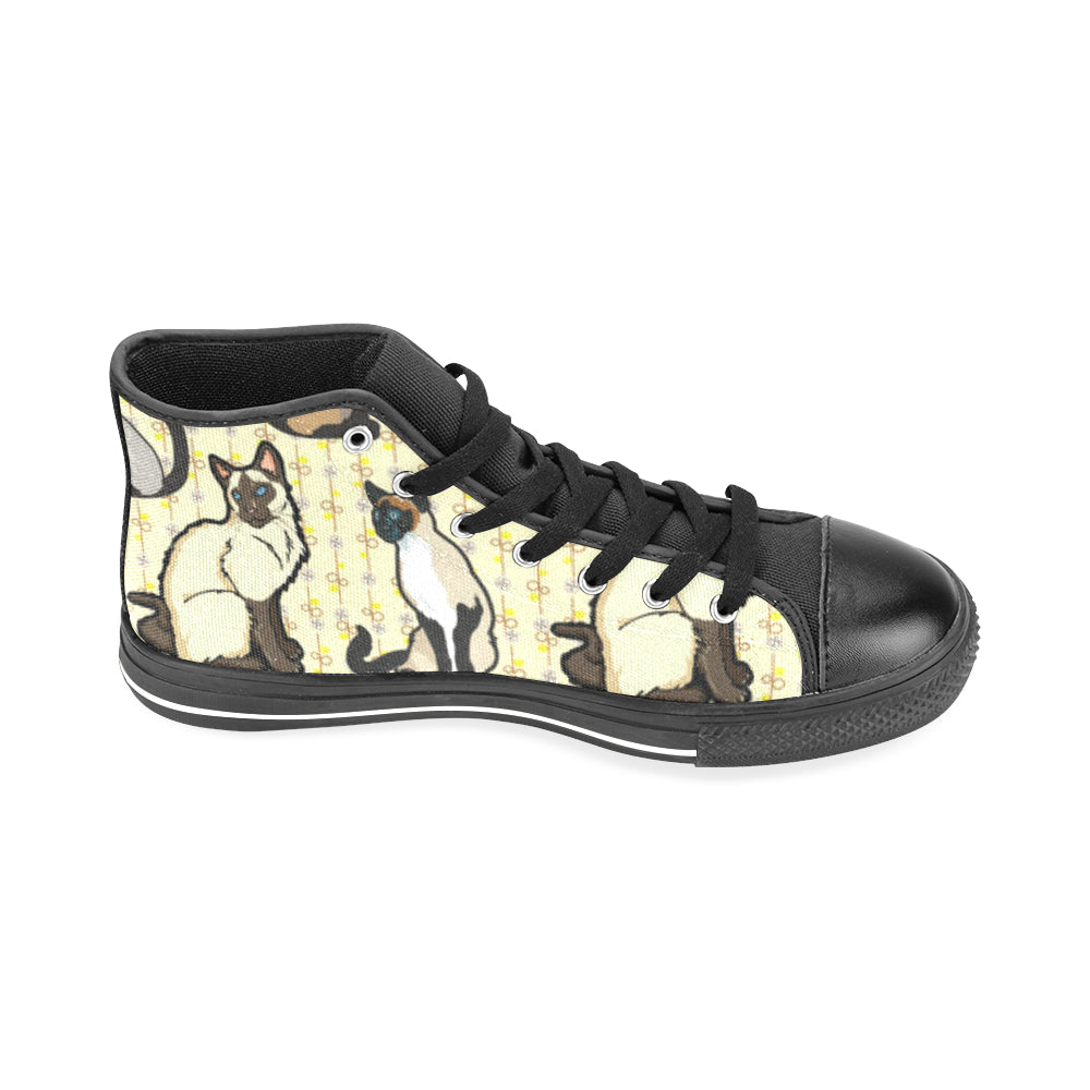 Siamese Black Men's Classic High Top Canvas Shoes /Large Size (Model 017) - TeeAmazing