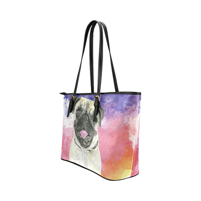 Pug Water Colour No.1 Leather Tote Bag/Small - TeeAmazing