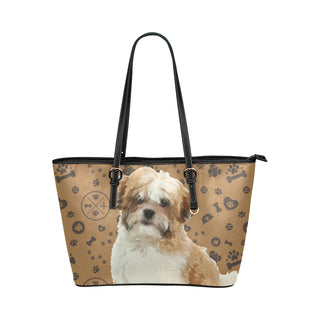 Maltese Shih Tzu Dog Leather Tote Bag/Small - TeeAmazing